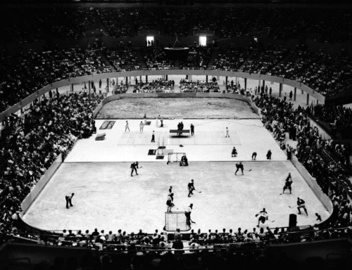 Exhibition ice hockey game in the Los Angeles Memorial Sports Arena on its opening day, July 4, 1959. The game used one-third of the rink and was played simultaneously with a table tennis match.