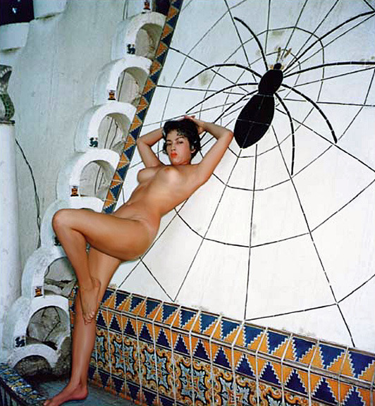 "burleskateer:  Tura Satana poses nude at the infamous Art Deco -designed ""Spider Pool"" ; located on the Jack McDermott estate, up in the Hollywood hills.. The photo is from a larger series snapped by former silent film actor turned Pin-Up photographer: Harold Lloyd..  Tura Satana snapped by Harold Lloyd no less!"