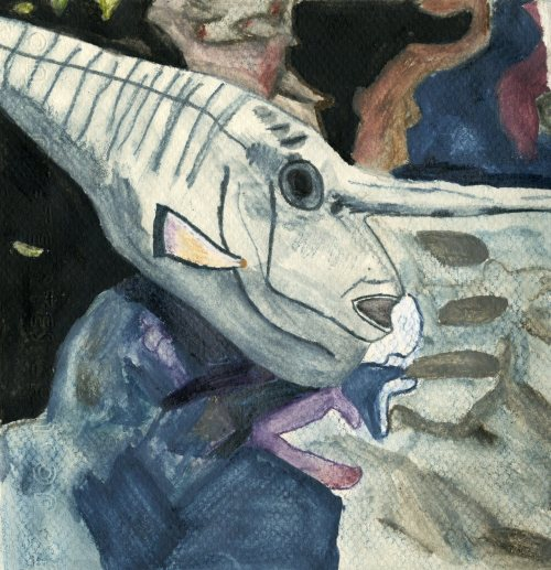UNICORN FISH Johnnie JungleGuts watercolor pencil on paper