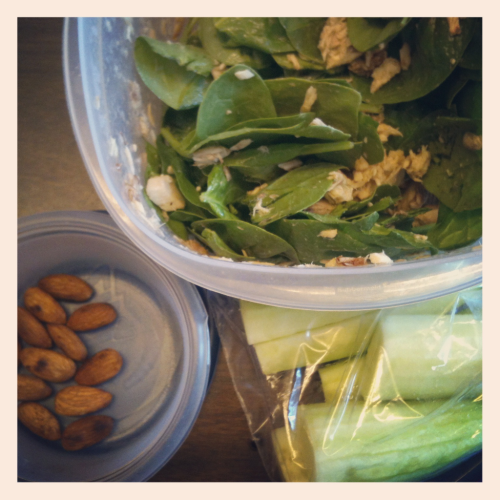Today's clean lunch: spinach salad with white tuna, 2tsp flax seed oil and 1 TBSP Fig vinegarette + cucumbers and toasted almonds on the side. Complimented with water and Cucumber white tea  What's on your plate?