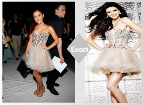 Ariana Grande wear's a Sherri Hill prom dress to Malan Bretons.