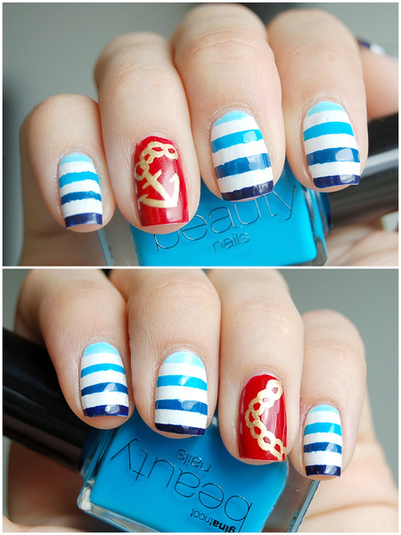 We love Emelie J.'s nautical nails! Check out these 3 other fun twists on the nautical nail trend!