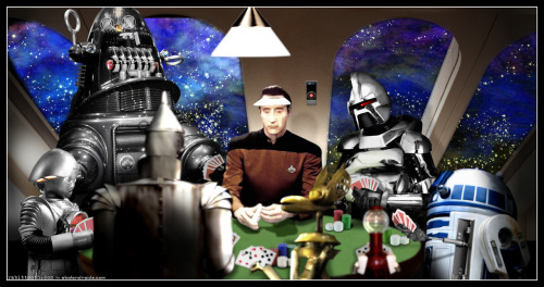 shoppedscifi:  Robots Playing Poker by Rabittooth  Oh, nice. And inclusive, you know? That's so important with artificial intelligences.