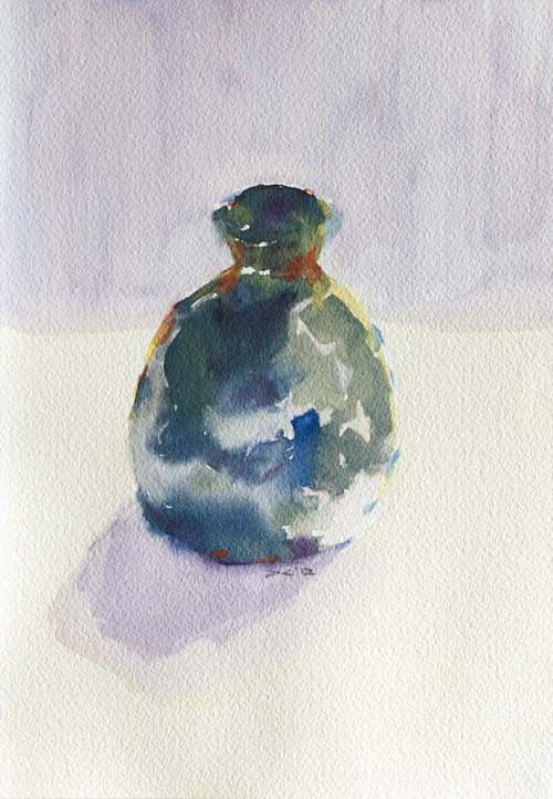 Green Ceramic Bottle (2), watercolor, Aquarelle Arches 140 lb. cold pressed paper, 18 x 26 cm, 2012 $65, domestic USPS shipping and handling included in price. Click Shipping Details for UPS shipping. Transactions accepted via PayPal, please contact the artist.