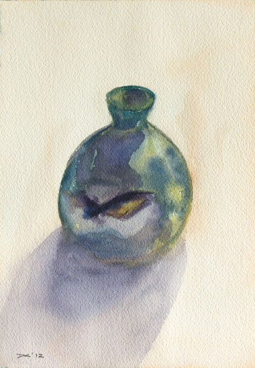 Green Ceramic Bottle (1), watercolor, Aquarelle Arches 140 lb. cold pressed paper, 18 x 26 cm, 2012 $65, domestic USPS shipping and handling included in price. Click Shipping Details for UPS shipping. Transactions accepted via PayPal, please contact the artist.