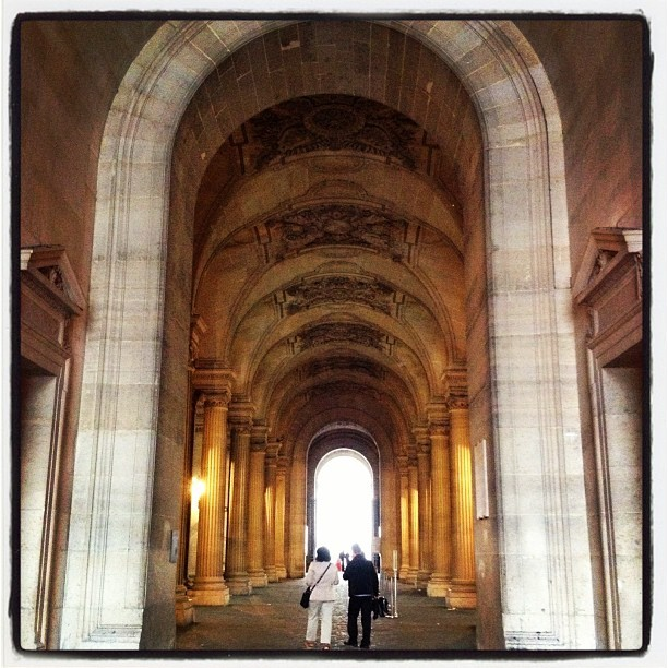 Back entrance to Louvre from train (Taken with Instagram)
