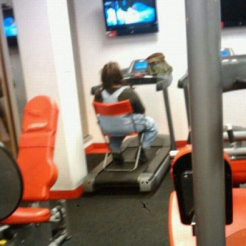 Gym Exploited for Cable TV No, I came here to work out, too. See, Im in my running overalls.