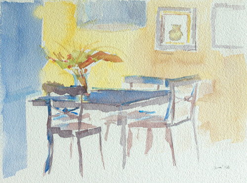 Rob & John's Dining Room, watercolor, Aquarelle Arches 300 lb. cold pressed paper, 23 x 31 cm, 2012 SOLD