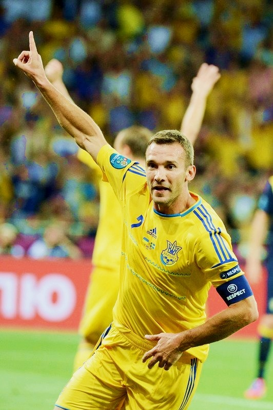 footballcrazyfootballmad:  Ukraine legend Shevchenko celebrates his second of the game putting the Euro 2012 co-hosts 2-1 up against Sweden