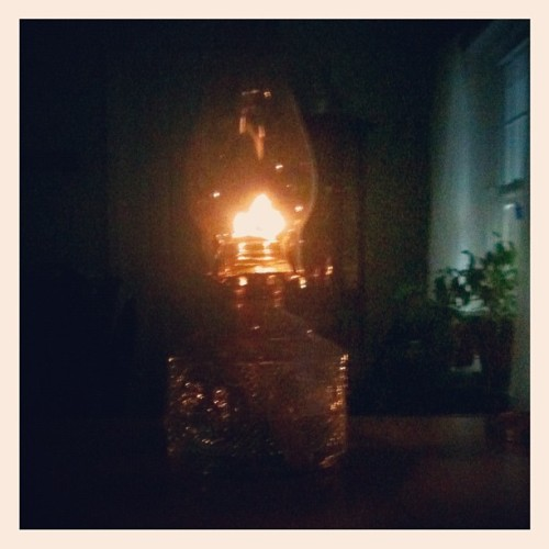 Bad storm. The power is out. Good thing I like to collect hurricane lamps! They come in handy for times like these! (Taken with Instagram)
