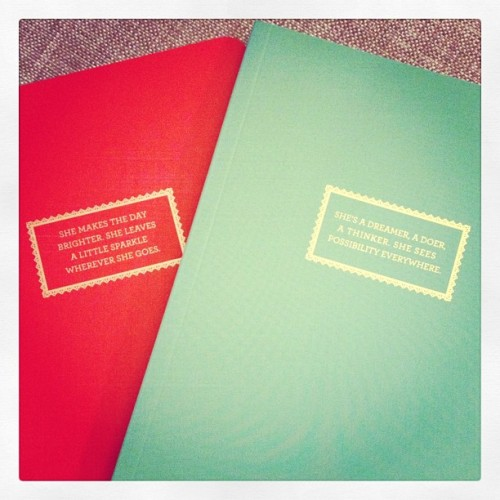 "jaclynday:  These little Kate Spade-looking notebooks were $2.50 (I think) at Target. I forgot I had them until a few minutes ago and got all excited about using maybe 3 pages of them before they get lost in the massive pile of mostly blank journals and notebooks I keep ""just in case."" Just in case, what? I hand write a novel?  Just in case, what? I handwrite a novel?   Laughed so hard at this because I have amassed quite a collection of unused or barely-used notebooks and can't imagine getting rid of them even though I'm not sure why I like them so much.  And if I saw these for $2.50 at Target, I'd be very tempted to add to my collection."