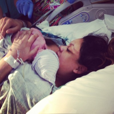 Momma Ashley and her newborn baby Ashton  (Taken with Instagram)