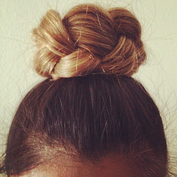 curiouserlia:  Braided bun for work today 👌👸 #ombre #hair #curiouserlia (Taken with Instagram)