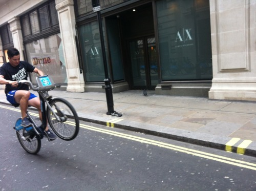 LAWLESS BEHAVIOUR. Popping wheelies on a Boris Bike. Only John Law…