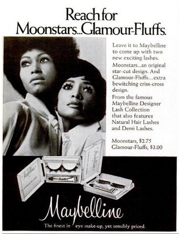 A groovy 1971 Maybelline ad for Moonstars and Glamour-Fluffs (lashes!) that appeared in Ebony magazine.