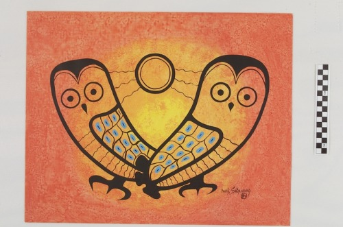 Noah Sainnawap (Noah Brown) (Cree) Sunrise Owls Acrylic on Paper 1984
