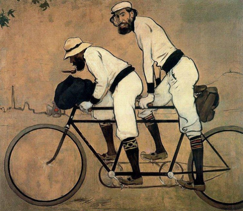 Ramon Casas and Pere Romeu on a Tandem, 1897 Ramon Casas i Carbó Detail