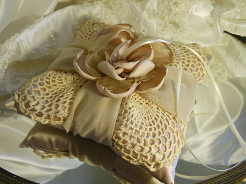 Bridal Ring Bearer Wedding Pillow handmade of satin and vintage crochet.
