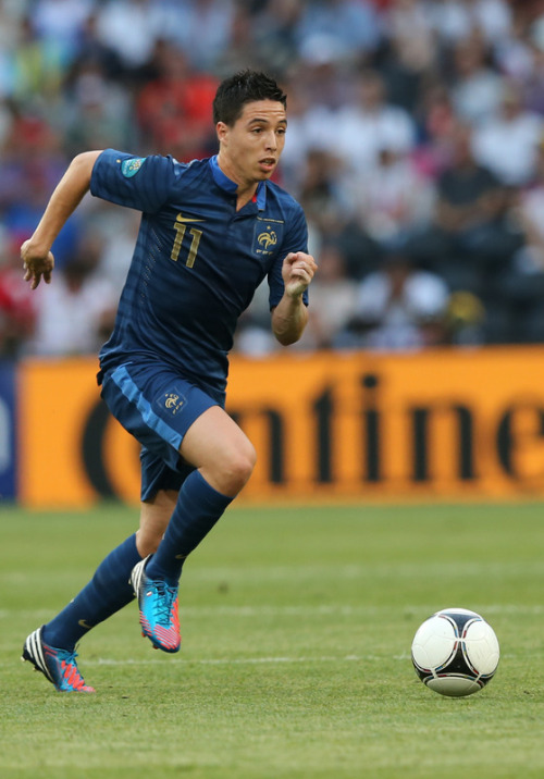Samir Nasri pictured here wearing the Adidas redator LZ against England.