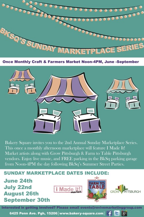The kick-off to the Sunday Marketplace series is coming June 24th from Noon-4PM.