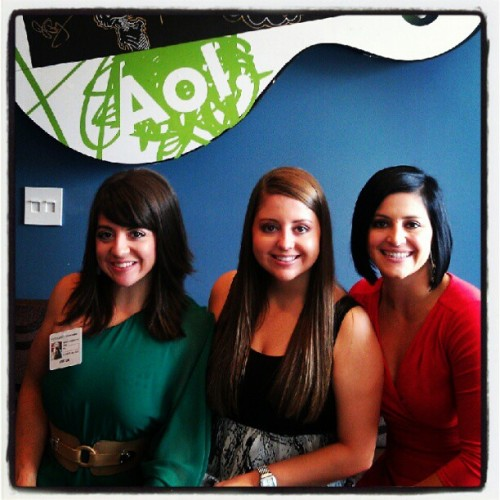 At AOL You've Got studios with @cmoceanu & @JenBricker1! #AOL #Sisters #DominiqueMoceanu  (Taken with Instagram)