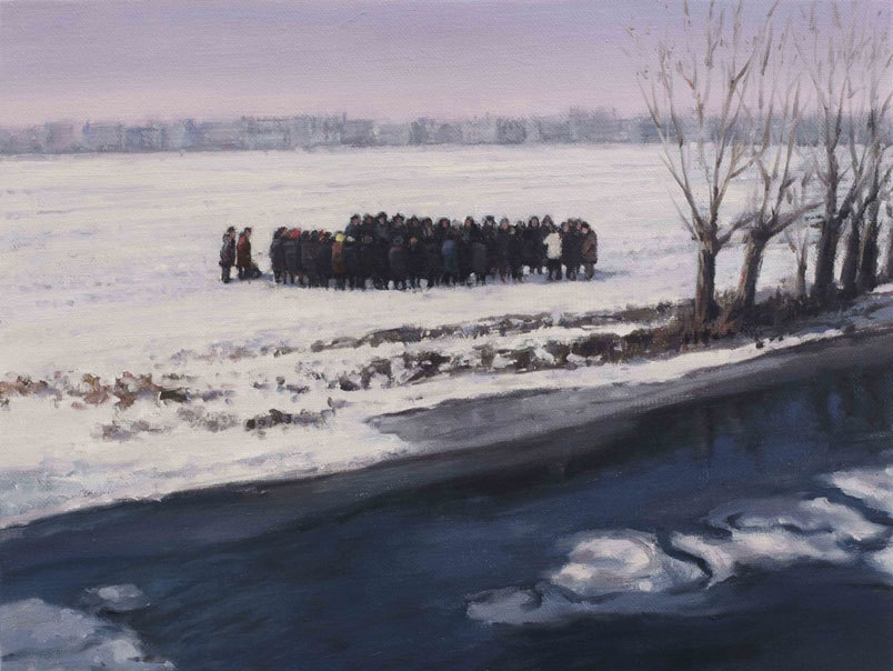 darksilenceinsuburbia:  Serban Savu. Procession II, 2012. Oil on canvas, 30 x 40 cm.