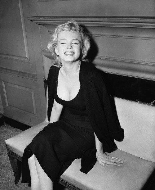 missingmarilyn:  Marilyn Monroe at a press conference confirming her engagement to Arthur Miller, 1956.