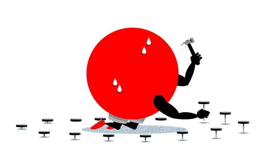 Part 5: A strong yen won't survive Japan's fiscal cliff. (Illustration by Kiji McCafferty | Column by Gary Shilling on Bloomberg View)