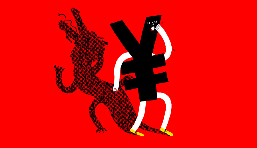 Tall tales about China's banks hide economy's problems (Illustration by Andrew Neyer | Op-Ed by Yukon Huang on Bloomberg View)