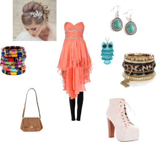 good night on the town by lazythirdeye featuring a prom party dressProm party dress£250 - riverisland.comLegging$150 - witchery.com.auJeffrey campbell boots£126 - farfetch.comVolcom handbag$50 - swell.comLeopard jewelry£13 - riverisland.comMadewell stacking bangle$14 - madewell.comOwl necklace$18 - gojane.comTurquoise dangle earrings$10 - sheplers.comTIARA bridal flower hair accessory$175 - etsy.com