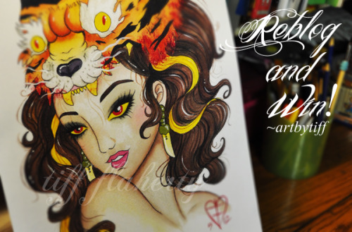 Reblog this post & win a print of the Tiger Lady! Simple as that :)  Reblog as much as you want, just not 2x in a row. In celebration of over 550+ followers and the opening of my shop, I'll be giving away ONE 11x17 Print on card stock. Winner will be chosen on 06/22/ Or, you can purchase ANY print from my store with discount code :GRAND10 to receive 10% off any print! (Sale ending 06/22/2012 @ 12:00 AM) Thank you everyone and good luck!