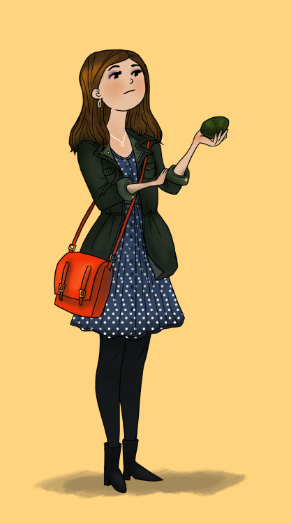 Jenna Louise Coleman With her companion, the avocado.