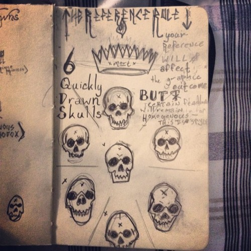 "A study of ""style"": each skull was drawn from a different reference via google images. Each skull was quickly interpreted then covered before drawing the next. The outcome was different skulls by appearance with certain consistent elements (circular eyes, the nose bridge, rounded teeth, etc.)   (Taken with Instagram)"