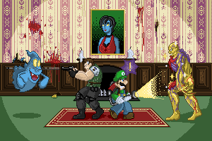 Another pixel art tournament! Theme was scary games, AW YISS CRISSCROSS MOFOS. Click on through to see it at 200%!