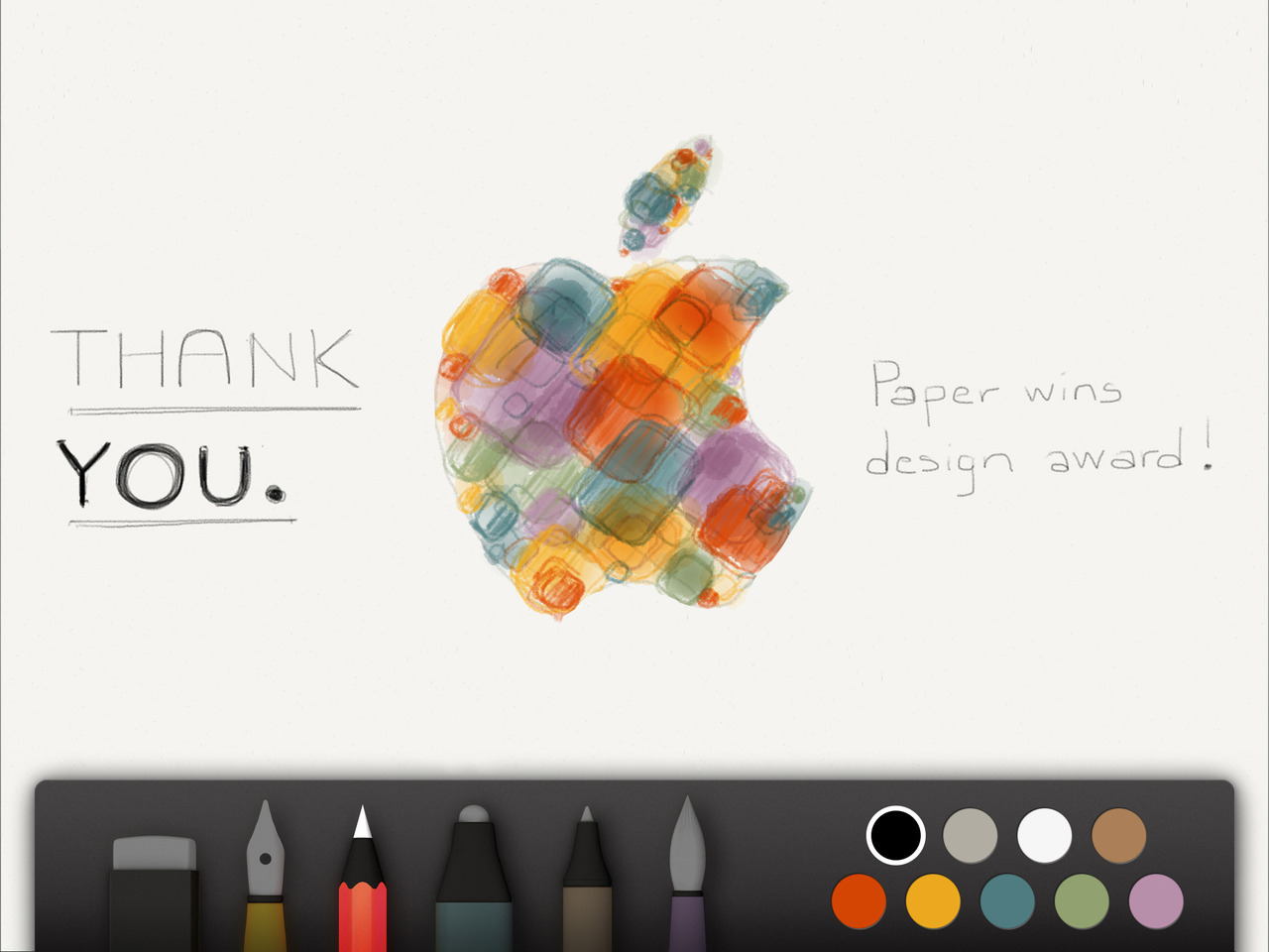 The beautiful Paper app by FiftyThree just won Apple's Design Award. Get the app for iPad if you have not already! fiftythreenyc:  Apple Design Award Just over a year ago we started developing Paper. Our idea: to make mobile creation better. Today at WWDC, Apple recognized our work with an Apple Design Award. Thank you. It really could not have happened without the support of Apple's platforms and the ingenuity of your creations. Paper is where ideas begin… and in the truest sense of the word, we're only beginning. Ideas have places to go. We want to be part of that voyage, and we hope you will too. Keep creating. We're hiring.
