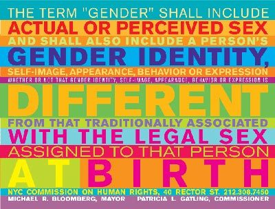 Trans* and Gender Equality Marketing  Graphic from the NYC Commission on Human Rights  PDF: Gender Identity Discrimination NYC Human Rights Law publication PDF: Defending Your Rights NYC Human Rights, compiled by Columbia Law School