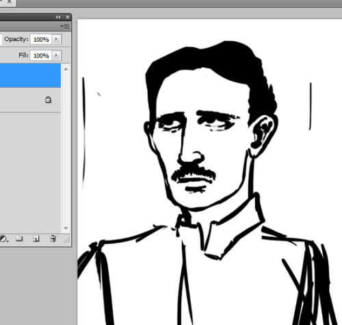 Also, very slowly figuring out how to draw Nikola Tesla for another commission.