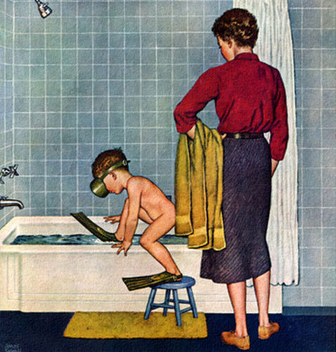 Scuba In The Tub, art by Amos Sewell.  Detail from cover November 29, 1958, Saturday Evening Post.