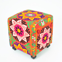 Mesmerize me! Wonderfull eclectic ~ Colorful Suzani Cube by Found Object
