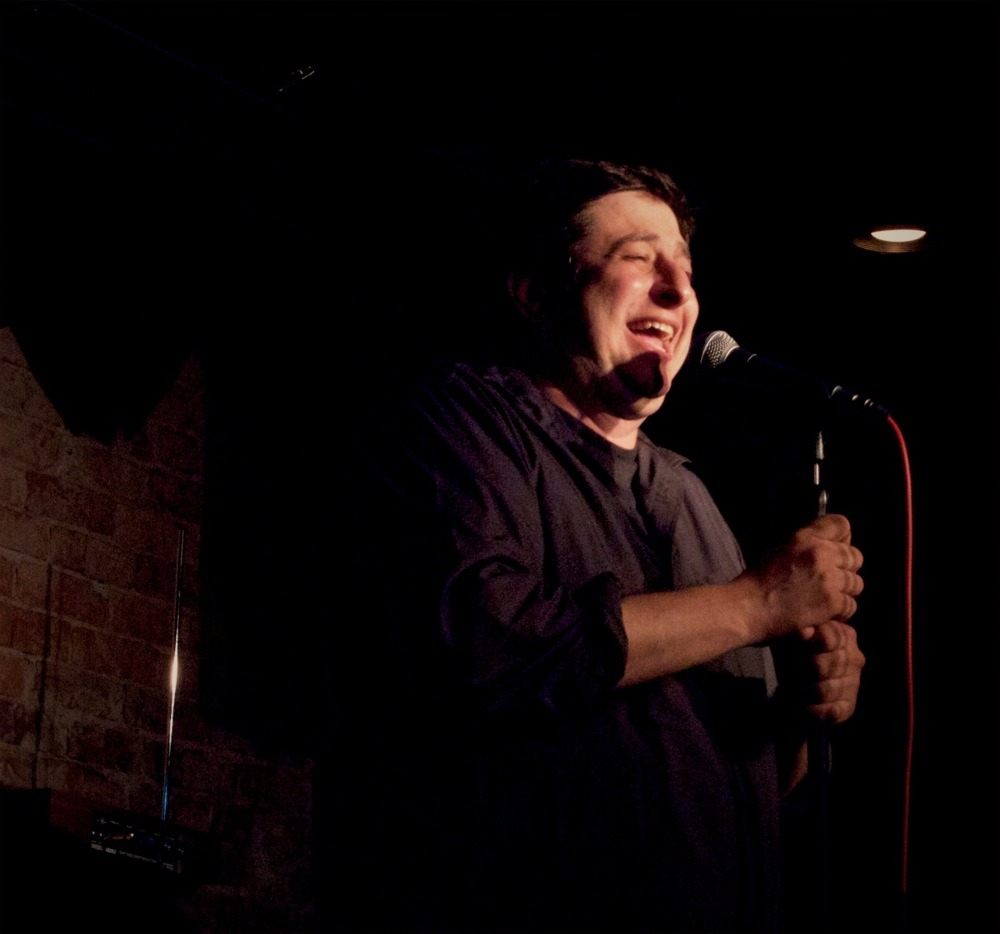 Eugene Mirman, Comedy Attic, June 9. Yes, that's a theremin against the wall.
