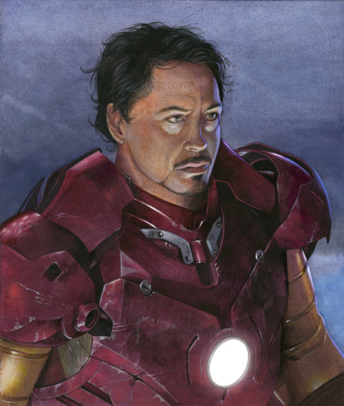 Robert Downey, Jr. as IronMan; mixed media on Strathmore illustration board.