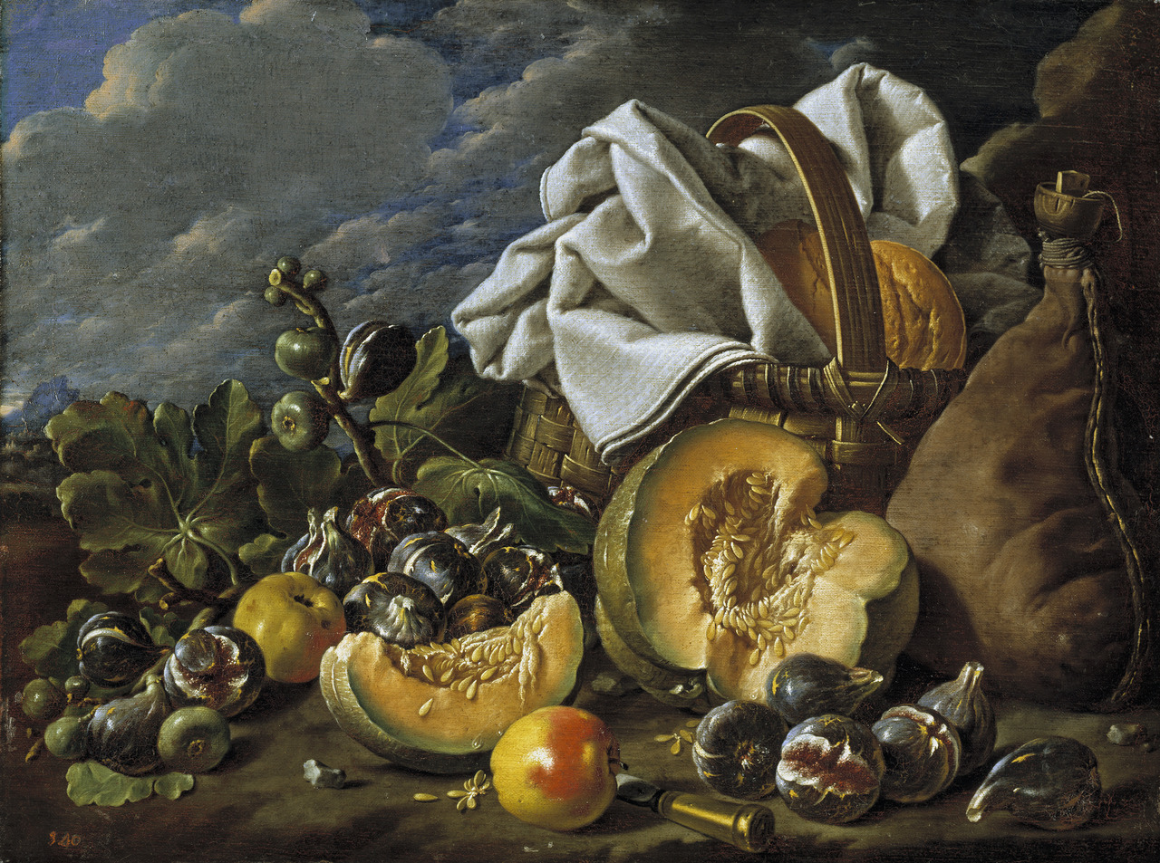Luis Egidio Melendez, Still-Life: squash, figs, wine, and basket boot, late 18th century, Museo Nacional del Prado, Madrid