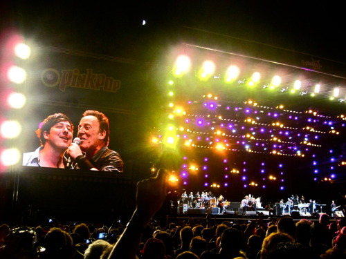 Marcus Mumford of Mumford & Sons with Bruce Springsteen on the big screen at Pinkpop on May 28, 2012. Photo from the Mumford & Sons Facebook Page.