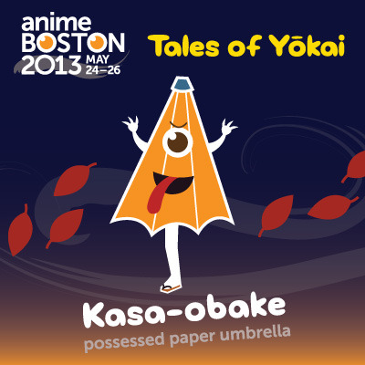The Kasa Obake: 傘お化け Kasa-Obake are a parasol/umbrella type of Tsukumogami.  Tsukumogami are everyday objects that have reached 100 years of existence and become self-aware and animate.  They are generally harmless but are known to play pranks on unsuspecting humans.  Kasa-obake are usually shown with a single eye, long tongue, and wear a single sandal (geta).
