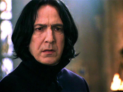 3 - Favourite Character I tend to like to think that I loved Snape's character before I loved Alan Rickman, but it's a combination of the two that make him consistently my favourite character. I can remember feeling devastated at the end of the 6th book when it seemed that he was a bad guy after all and don't think I've ever read just one chapter in a book more times than I've read 'The Prince's Tale'. My reasoning, is that I think I tend to back the underdog - the person that everyone else hates - and also because I like characters that aren't straight forwardly good (that have both light and dark in them ;]) …the fact that he's played by Alan Rickman just adds to my love for the character.