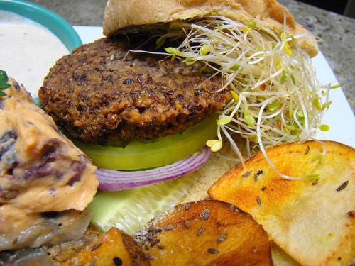 veganfoodforyoureyes:  Falafel Burger Plate by norwichnuts by Vegan Feast Catering on Flickr.