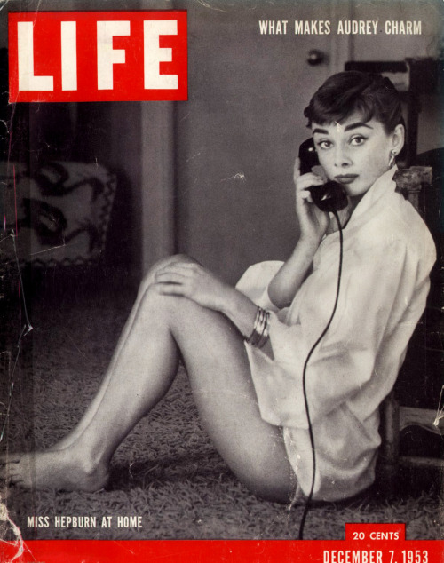 theniftyfifties:  Audrey Hepburn at home on the cover of Life magazine, 1953.
