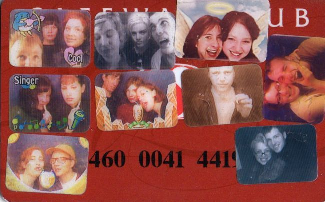 "SAFEWAY CLUB CARD PHOTOBOOTH PHOTOS   OLYMPIA 1990'S I am a card carrying member of the club are you? If you're not hip to the scene, just go down to your local Safeway and sign up, it feels good to be a part of something bigger than yourself and the it feels great to save money every time you shop! This is my first Safeway Club Card. I'll never forget the day I got it…actually I have no idea when I got it. In fact all I remember about the card is that I resisted getting it through a few purchases at Safeway because it felt ridiculous and demeaning. I felt like I was being coerced to jump through a silly hoop by a huge corporation dangling the Pavlovian promise of ""savings"" in front of my face. Savings I could only get if I got the harmless little card. I could almost hear the genial spokesvoice over the P.A.: ""Dear valued shopper, you don't have to get the card or anything. No one is forcing you to get the card. If you really don't want the card for some reason (we can't imagine why) all you have to do is pay a little more for the things you're buying today or go shop somewhere else, but why would you want to do that when you could simply join the club and get a nice new attractive card for your wallet? Won't you join the club and be a part of our family of savings?"" Okay, okay. Lemme have the card. I don't know what the card does. I don't know what it's for. I don't know how it is that stores could survive for centuries without the card, but WTF, I'm here now, buying this salsa and I want to save a dollar so I'll take the card.  Fast forward 15 years… I shopped at Safeway yesterday, as I do occasionally, and I used my current Club Card to save $3.33 which was 12% of the cost of my total purchase. Imagine how much I've saved since getting my first Club Card back in the 1990's! I've probably saved enough to buy a plane ticket to an exotic vacation destination. All because I took the leap and joined the club. Thank you Safeway! Speaking of clubs, there once was a club in Olympia called the North Shore Surf Club where bands used to play. I saw a couple shows there when it was the NSSC but its heyday was before my time in Olympia. I saw more shows in the room when it was called Thekla.  I won't go on too much about the venue because I'm not especially qualified to, I'll just say it hosted tons of great bands over the years. Bands like Black Flag(*), Nirvana, The White Stripes, Beat Happening, Bikini Kill, Bad Brains, on and on. My most vivid memories of the place are not of shows at all but rather they're of the ordinary weeknights when the place was just a bar where different friends of mine and I would hang out and have a good time. Thekla was home to a really fun Karaoke night. Jared Warren of KARP, The Whip, Big Business, The Melvins fame was sometimes the KJ for those nights. Was Kathleen Hanna a KJ there too? My memories are a little foggy. Who worked there? Did Brian Boswell? Vern Rumsey comes to mind (*). Why am I asking you? The Karaoke scene was a blast. I remember Chris Smith from KARP doing his spot-on Brian Johnson on ""You Shook Me All Night Long"", then there was that one guy who always did ""Friends in Low Places"" by Garth Brooks, I myself pretty much always did, and still do, Journey or GnR. I remember one time when Ad-Rock was in town, he got up and did ""U Can't Touch This"" by M.C. Hammer. As he stumbled through the track I was standing next to a hippie fella who turned his open-mouthed gaze from the stage to a friend standing beside him and said ""That dude sounds like the guy from the Beastie Boys"" It was true, in fact he sounded exactly like him.  Thekla was home to another import from Japan as well: one of those new-fangled digital photobooths with the silly caption and border options. This is the place in the story where the the Safeway Club and local night club meet because I used my Club Card as a wallet gallery of my friend's sticker portraits. Looking at the card today I see a nice little snapshot of the time as I knew it. This snapshot has a particular poignance because Scott Jernigan (top center) isn't here to read this post and make a funny comment about his funny face. To say Scott was one of the most talented (really talented as in world class, drum-hero drummer), sweetest, and funniest people I've known still feels like I'm selling the guy short somehow. I guess it's the past tense phrasing that gets me: he's gone but on the other hand, he isn't really gone at all. Maybe it's the Facebook effect, where everyone we've ever known seems to be out there somewhere doing their thing or maybe it's just that his energy is too near and vital to the many people who love him, myself included. It just doesn't feel appropriate to use the past tense when talking about him so I won't. It's not a cliche, it's a fact that Scott lives on in all the people who love him and hold his memory and his music dear. I'll leave it to you to figure out who else is who on the card (consult the tags for the answer key). I'll close by saying that that happy looking, attractive couple in the bottom right hand corner, Casey Lynn McKee and Noah Herlocker, are now married and have two of the coolest, funniest kids ever. Those kids are almost as funny as Scott Jernigan! I don't mean to sound glib about it, it's just that as you get older and you say goodbye to more members of your family it is very heartening to meet fresh new additions to the human family that have a spark that makes you believe there is hope for us all in this crazy crap-shoot.  Hakuna matata, that beat up old circle of life bounces along. *Sarah Utter says: ""Jared was the KJ at the 'new thekla' and Kathleen was the KJ at the original. good times. employees were Brian Boswell, Vern Rumsey, Mike Elvin, Jennifer Hukee, myself (new thekla) and countless other weirdo punks. Joe Preston checked id's for a while!"" *Tobi Vail says: ""Before it was the North Shore Surf Club it was just The Surf Club a teen disco for 80's new wave kids. Their 80's night was weird because they often played the same songs as they did in the 80's to the same audience who were in their 30's. Black Flag played The Tropicana not Surf Club! A very surreal moment for me was watching Alec Mackaye dance to Styx Mr Roboto at Thekla's 80's night in 1996 after Berzerk covered Minor Threat opening for the Warmers in the building where the Trop used to be….which is called Jake's now…I can't' remember what it used to be called though?"" R.I.P. and hilarity Scott Jernigan. (Safeway Club Card from my personal archives)"