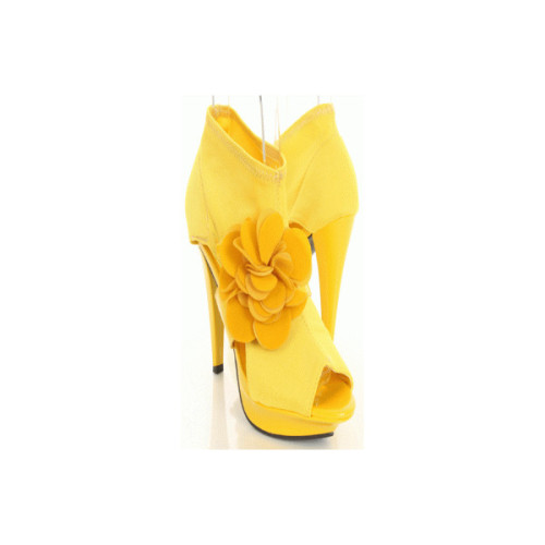 Yellow Lycra Fabric Flower Patent Strap Open Toe Heels