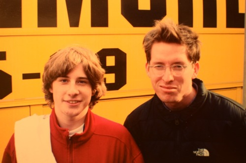 My picture with Wes Anderson from high school. I was obsessed with Bottle Rocket. He was on a bus tour to promote Rushmore. Me and my friends skipped school and drove to Cincinnati to meet him and Jason Schwartzman. (No one else was there so we got to tell them our favorite Bottle Rocket lines for an hour. Sorry about that, guys. Thanks for acting nice.)[Posted on Filmmaker Magazine]